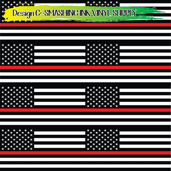Firefighter Red Line Flag - Pattern Vinyl (READY IN 3 BUS DAYS)
