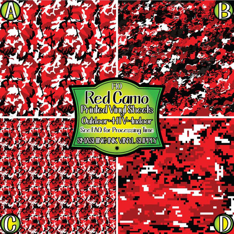 Red Black Camo - Pattern Vinyl (SHIPS IN 3 BUS DAYS)