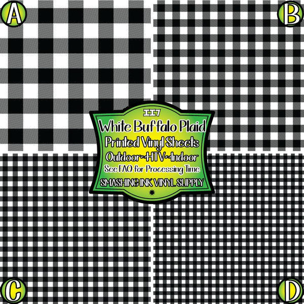 White Buffalo Plaid - Pattern Vinyl (READY IN 3 BUS DAYS)