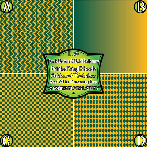 Dark Green & Gold Pattern - Patterned Vinyl Done Printed
