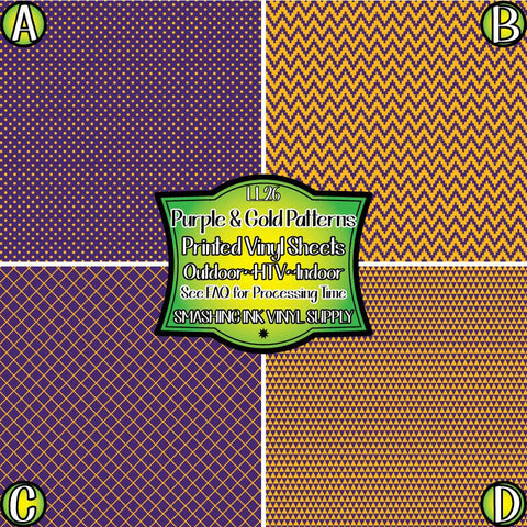 Purple & Gold Pattern - Pattern Vinyl (SHIPS IN 3 BUS DAYS)