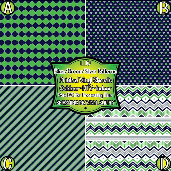 Green Blue Silver Pattern - Pattern Vinyl (SHIPS IN 3 BUS DAYS)
