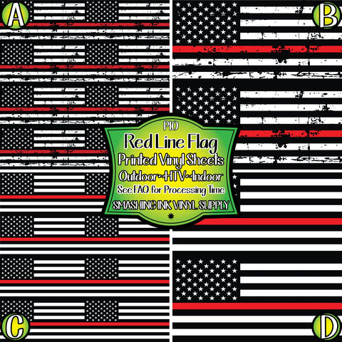 Firefighter Red Line Flag - Patterned Vinyl Done Printed