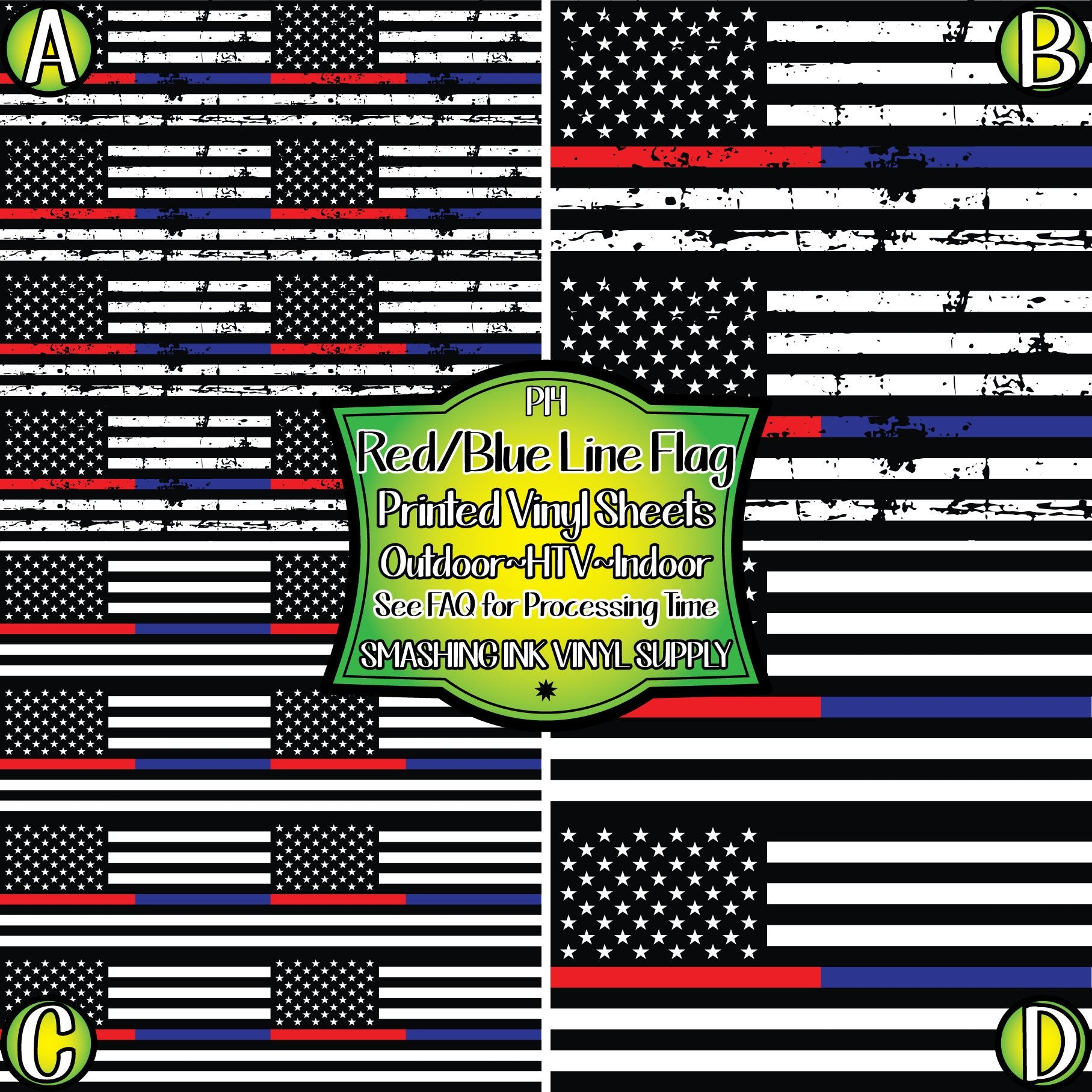 Red Blue Line Support Flag - Pattern Vinyl (READY IN 3 BUS DAYS)