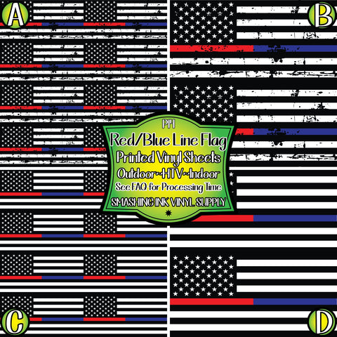 Red Blue Line Support Flag - Pattern Vinyl (SHIPS IN 3 BUS DAYS)