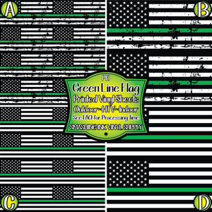 Green Line Support Flag - Pattern Vinyl (SHIPS IN 3 BUS DAYS)