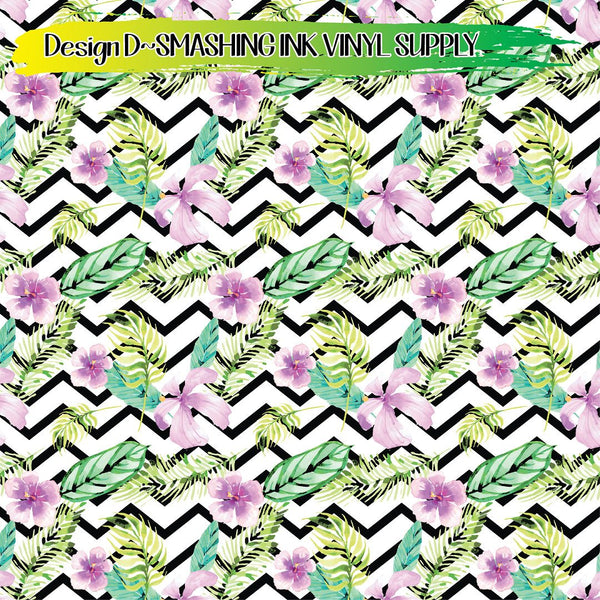 Floral Zig Zag - Pattern Vinyl (READY IN 3 BUS DAYS)