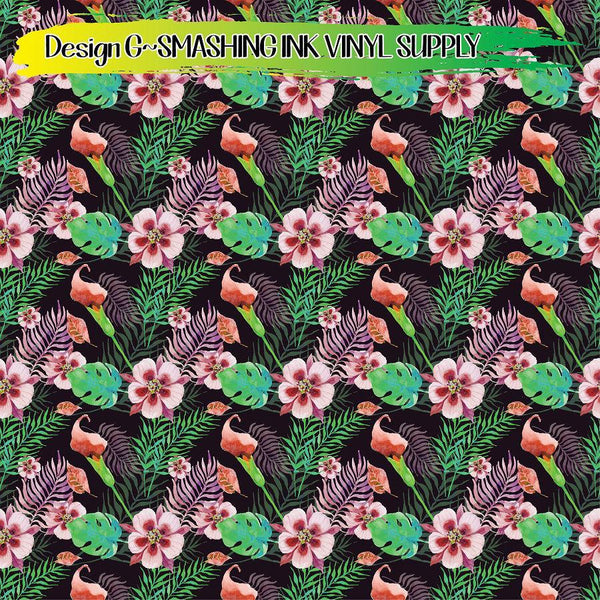 Tropical Floral - Pattern Vinyl (SHIPS IN 3 BUS DAYS)