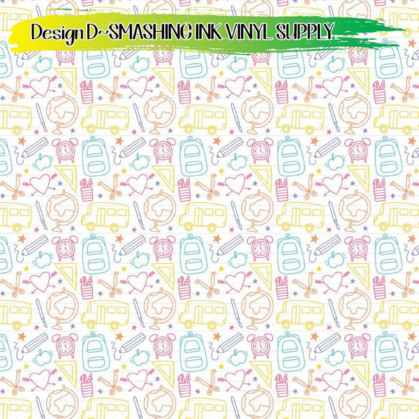 School Doodles  Print - Pattern Vinyl (SHIPS IN 3 BUS DAYS)