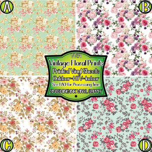 Vintage Floral Print - Pattern Vinyl (READY IN 3 BUS DAYS)