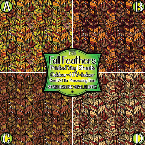 Fall Feathers - Patterned Vinyl Done Printed