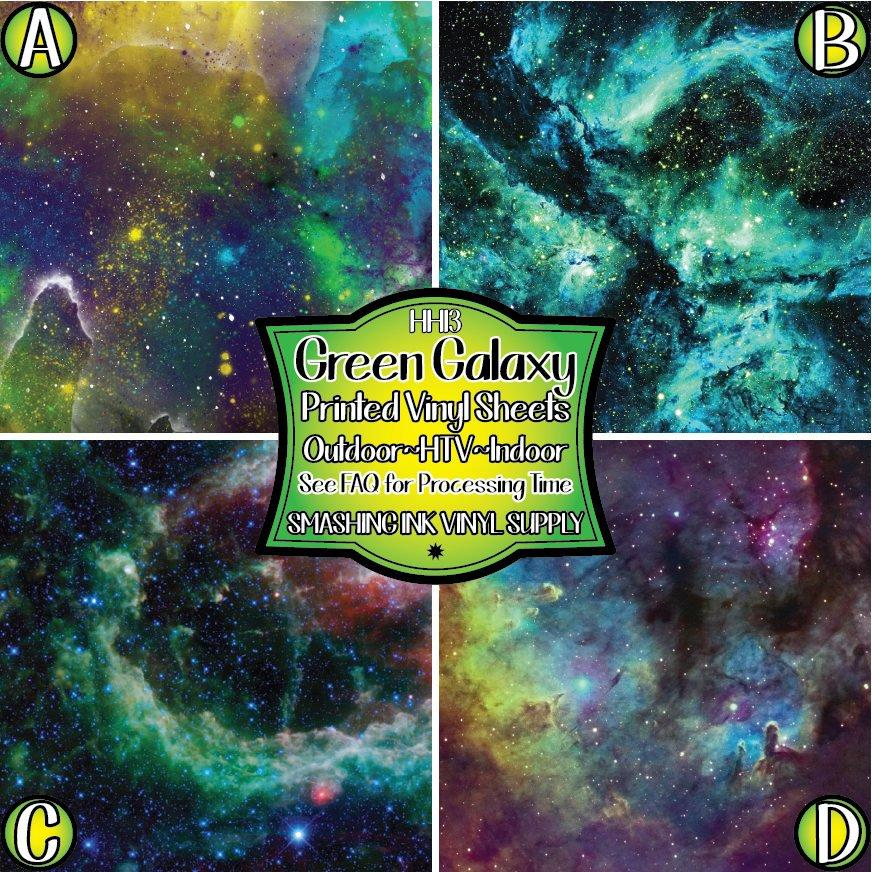 Green Galaxy Space - Pattern Vinyl (READY IN 3 BUS DAYS)