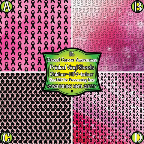 Breast Cancer Awareness - Patterned Vinyl Done Printed