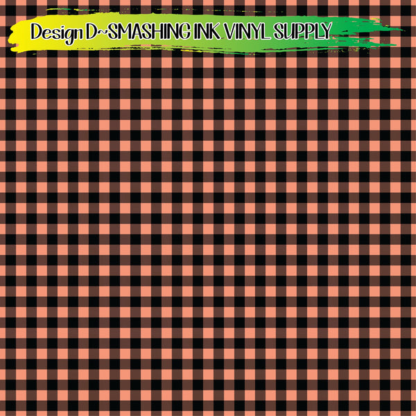 Coral Buffalo Plaid - Pattern Vinyl (READY IN 3 BUS DAYS)