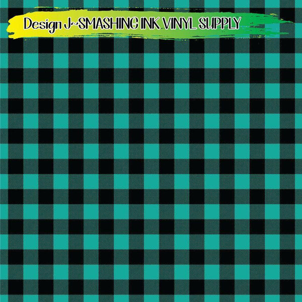 Teal Buffalo Plaid - Pattern Vinyl (READY IN 3 BUS DAYS)