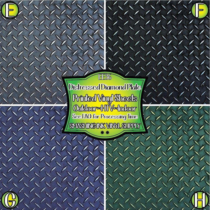 Distress Diamond Plate - Pattern Vinyl (READY IN 3 BUS DAYS)