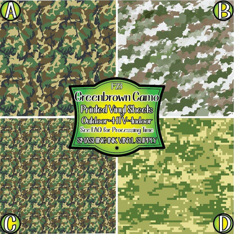 Green Camo Printed - Pattern Vinyl (SHIPS IN 3 BUS DAYS)