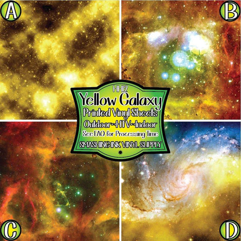 Yellow Galaxy Space - Patterned Vinyl Done Printed