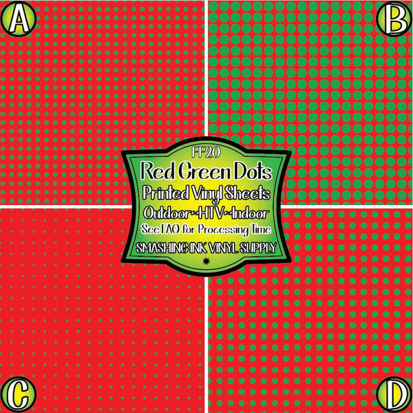 Red Green Polka Dot - Pattern Vinyl (READY IN 3 BUS DAYS)