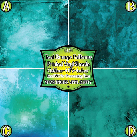 Teal Watercolor Grunge - Patterned Vinyl Done Printed