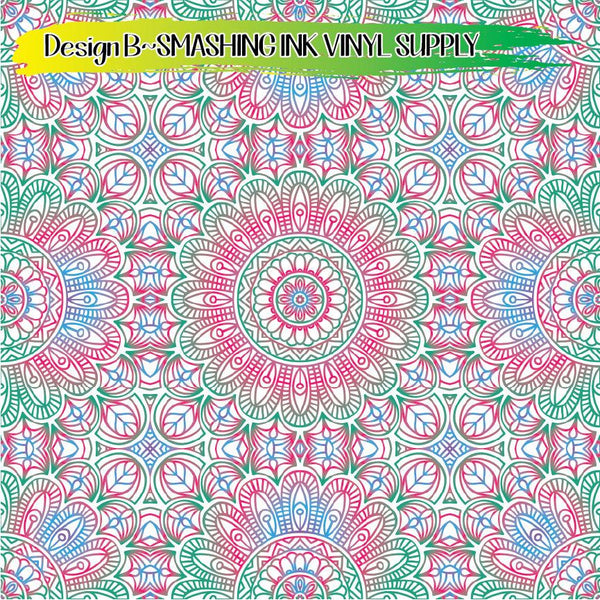 Colorful Ornamental - Pattern Vinyl (READY IN 3 BUS DAYS)