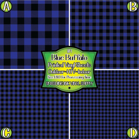 Blue Buffalo Plaid - Pattern Vinyl (SHIPS IN 3 BUS DAYS)