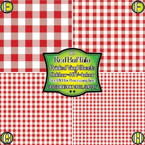 Red Gingham Fabric - Pattern Vinyl (SHIPS IN 3 BUS DAYS)