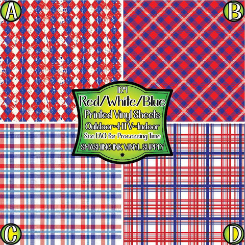 Red White Blue Plaid - Pattern Vinyl (SHIPS IN 3 BUS DAYS)