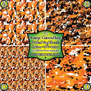 Orange Camo - Pattern Vinyl (READY IN 3 BUS DAYS)