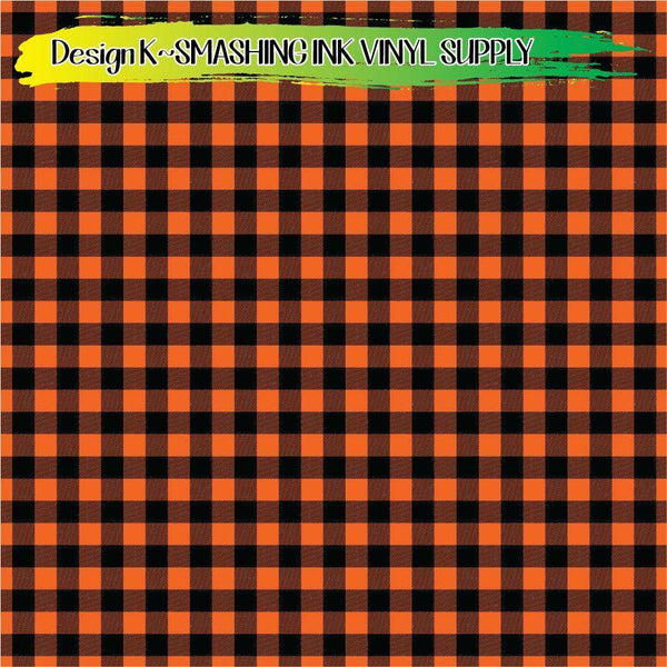 Orange Buffalo Plaid - Pattern Vinyl (SHIPS IN 3 BUS DAYS)