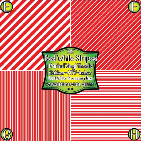 Red White Striped - Patterned Vinyl Done Printed