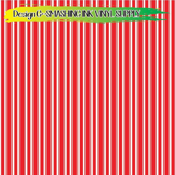 Red White Striped - Pattern Vinyl (READY IN 3 BUS DAYS)