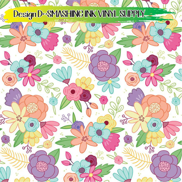 Spring Flowers - Pattern Vinyl (READY IN 3 BUS DAYS)
