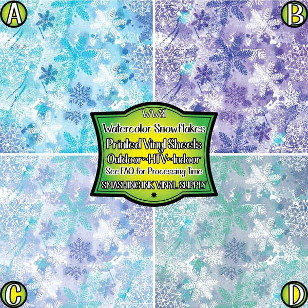 Watercolor Snowflake - Pattern Vinyl (READY IN 3 BUS DAYS)