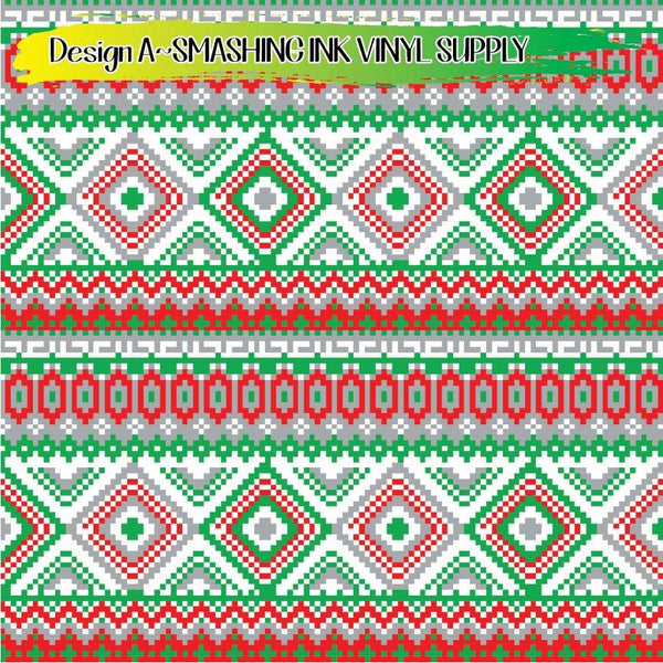 Christmas Pixels - Pattern Vinyl (SHIPS IN 3 BUS DAYS)