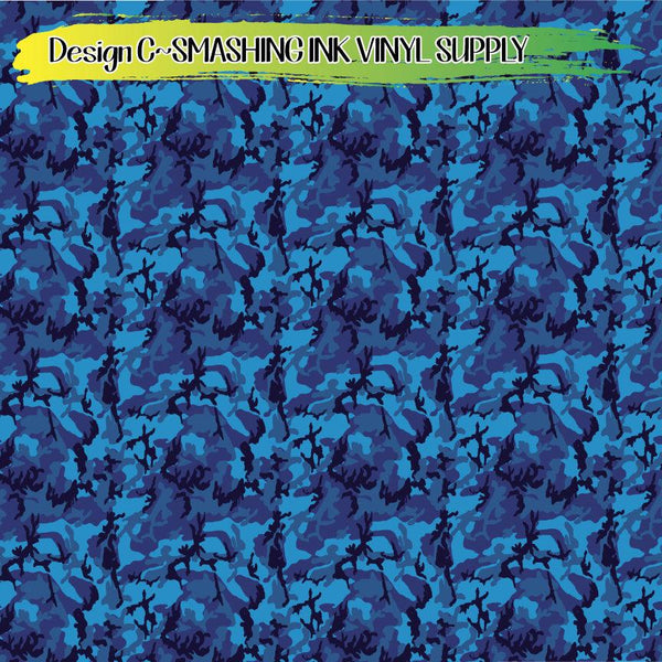 Blue Camo Print - Pattern Vinyl (READY IN 3 BUS DAYS)
