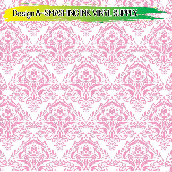 Pink Damask Pattern - Pattern Vinyl (SHIPS IN 3 BUS DAYS)