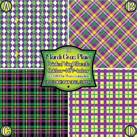 Mardi Gras Plaid - Patterned Vinyl Done Printed