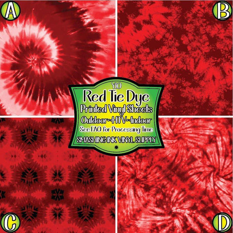 Red Tie Dye - Pattern Vinyl (SHIPS IN 3 BUS DAYS)