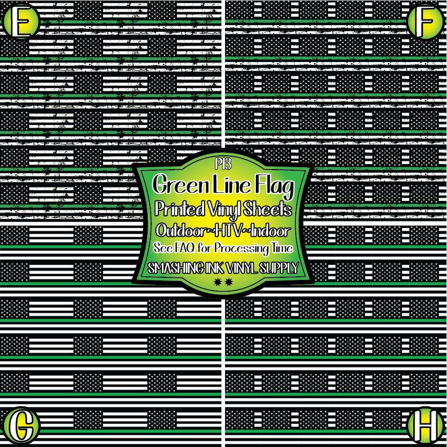 Green Line Flag - Pattern Vinyl (READY IN 3 BUS DAYS)