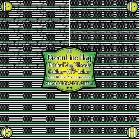 Green Line Flag - Patterned Vinyl Done Printed