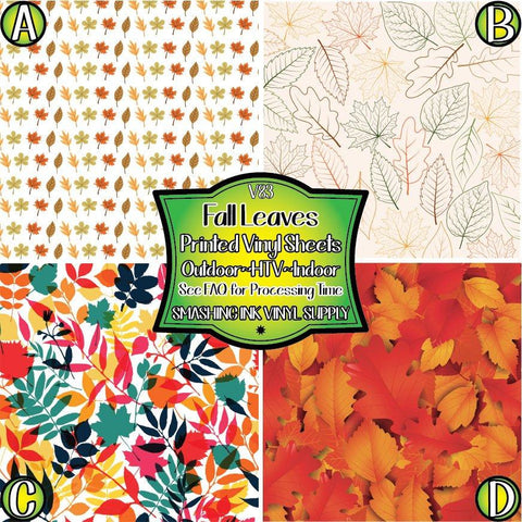 Leaf Pattern Fall - Patterned Vinyl Done Printed