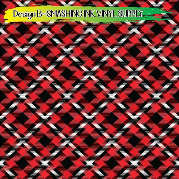 Red Black White Plaid - Pattern Vinyl (READY IN 3 BUS DAYS)