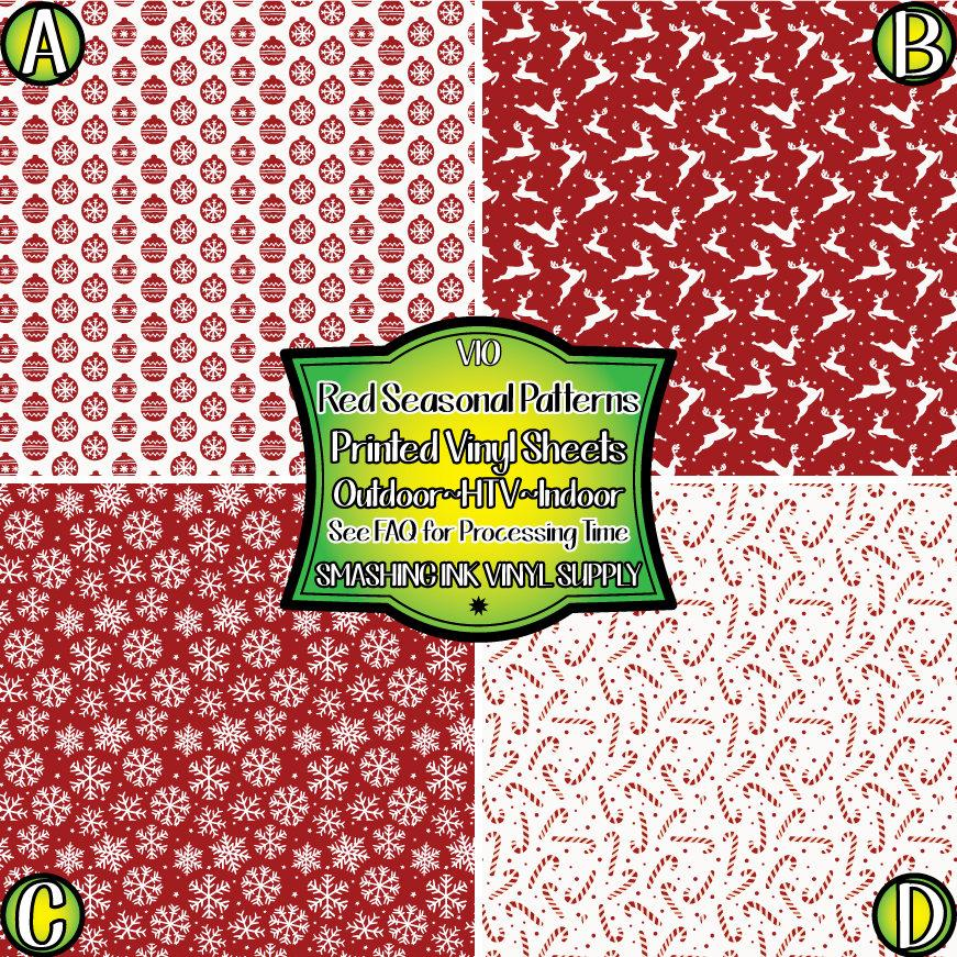 Red Holiday - Pattern Vinyl (READY IN 3 BUS DAYS)