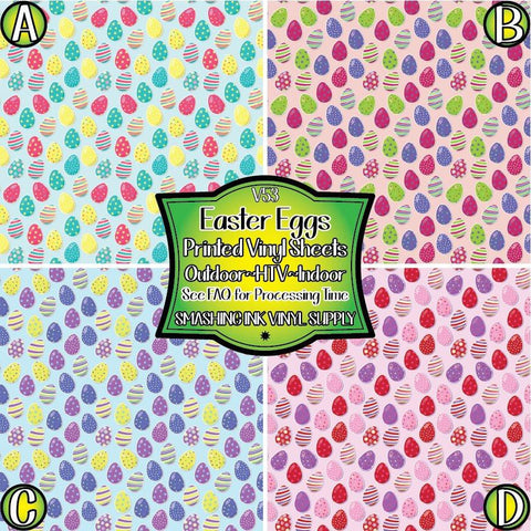 Easter Eggs Pattern - Patterned Vinyl Done Printed