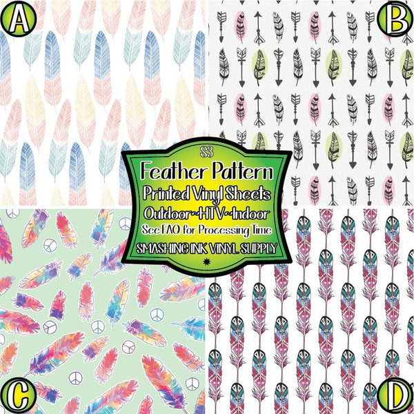 Feather Patterned - Pattern Vinyl (READY IN 3 BUS DAYS)