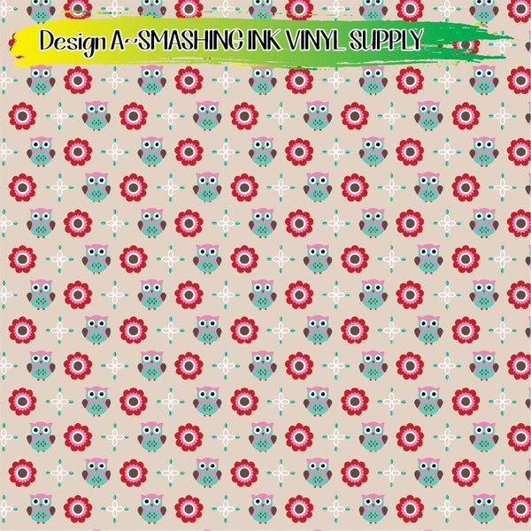 Cute Owl Pattern - Pattern Vinyl (READY IN 3 BUS DAYS)