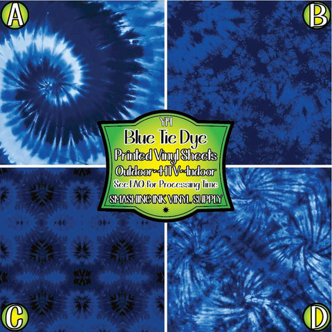 Blue Tie Dye - Patterned Vinyl Done Printed