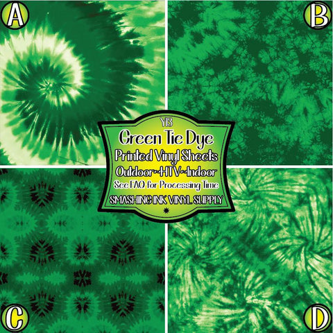 Green Tie Dye - Patterned Vinyl Done Printed