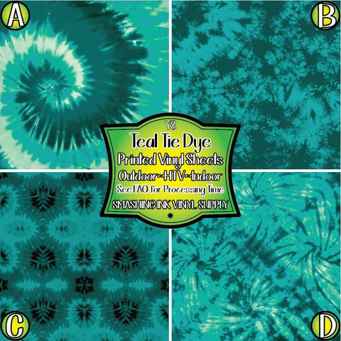Teal Tie Dye - Patterned Vinyl Done Printed